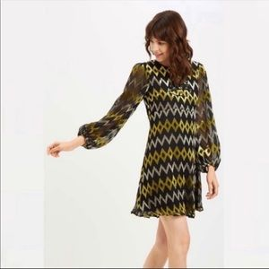 Anthropologie retro chevron diamond print dress